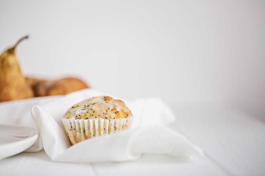 Muffin Citron et graines de pavot et morceaux de poires