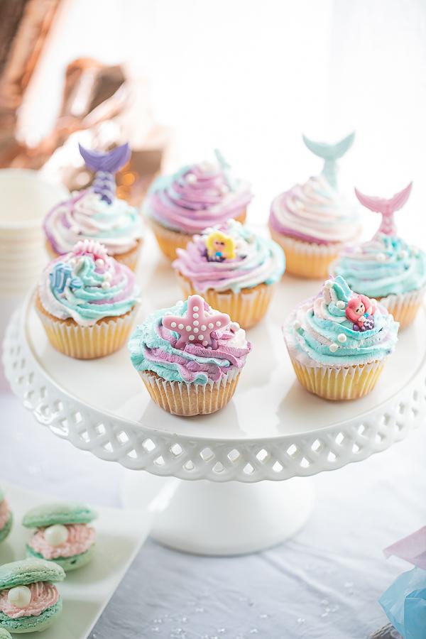 Thème sirène Cupcake multicolore